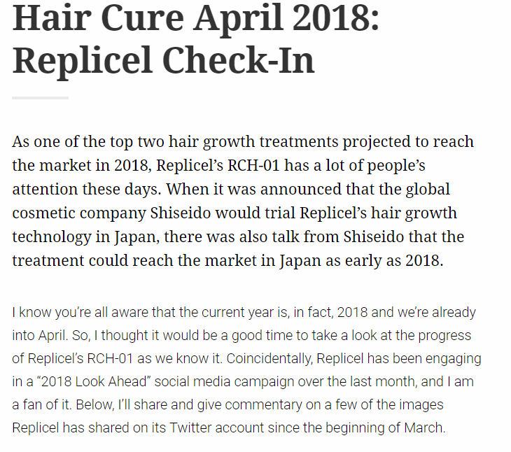 Is It True That Replicel Will Be Released This Year? | HairLossTalk